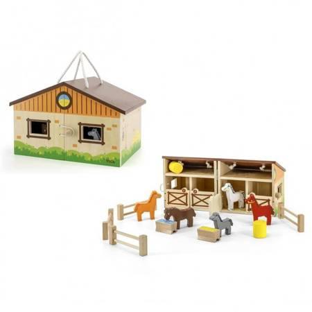 Drewniana Stadnina dla Koni w Walizce Viga Toys