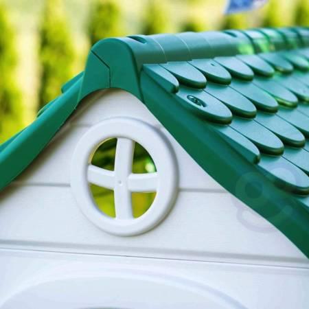 Ekologiczny Domek Ogrodowy z panelem słonecznym Karmnik Segregacja Odpadów  Feber