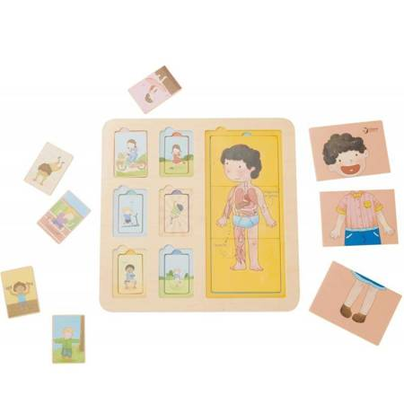CLASSIC WORLD Tablica Edukacyjna Ciało Ludzkie Układanka Klocki Puzzle dla Dzieci Dopasuj 19 el.