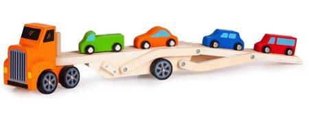 Drewniana  Ciężarówka + 4 auta