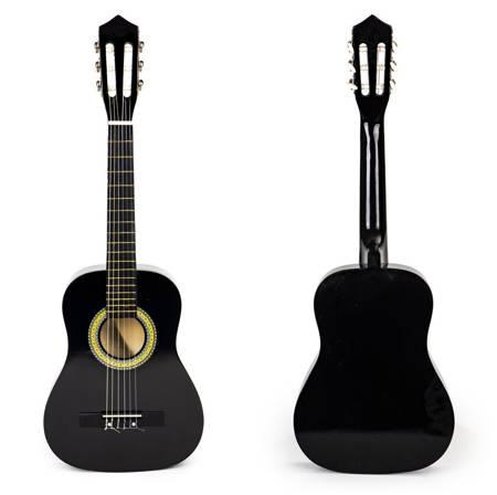 Drewniana Czarna  Gitara 6 strun