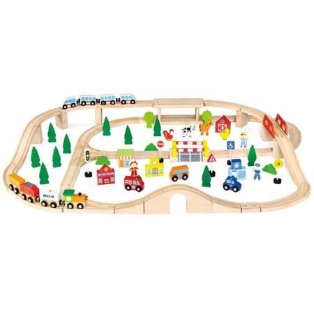 Drewniana Kolejka z pociągami  90 el Viga Toys