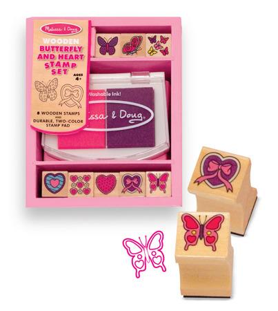 Drewniane Pieczątki Baby Motylki i Serduszka Melissa and Doug 12415
