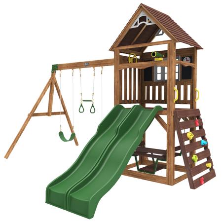 Drewniany Cedrowy Plac Zabaw Lindale Kidkraft F29130 - Podwójna zjeżdżalnia i 4 os. gondola