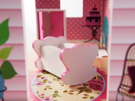 Drewniany Domek dla lalek Victoria + Oświetlenie
