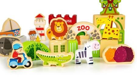 Zestaw Drewniane Klocki Ogród Zoo 120 el